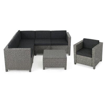 Nicolino Outdoor Wicker V-Shaped 7 Piece Deep Seating Group Fabric: Mixed Black