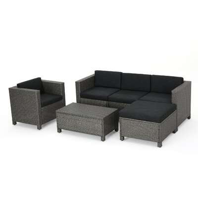 Nicolino Outdoor Wicker L-Shaped 6 Piece Deep Seating Group Fabric: Mixed Black