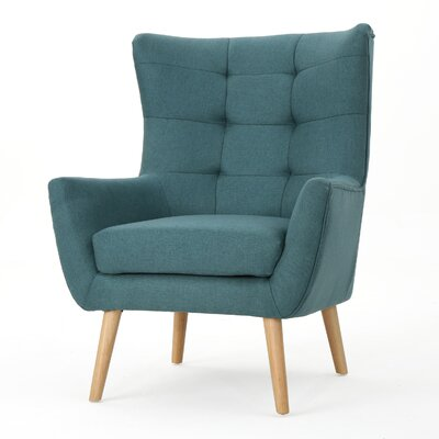 Nola Mid Century Fabric Club Chair Upholstery: Dark Teal