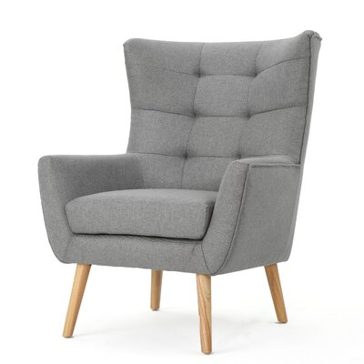 Nola Mid Century Fabric Club Chair Upholstery: Gray