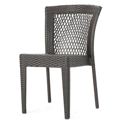Woodyard Outdoor 3 Piece Wicker Stacking Chair Chat Set