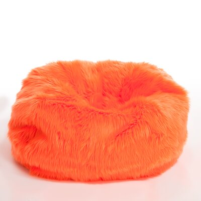 Sullivan Childrenu0027s Neon Orange Faux Fur Bean Bag Lounge Chair