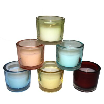 Cup with Vanilla Glass Scent Candle Color: Green EN29003-Green