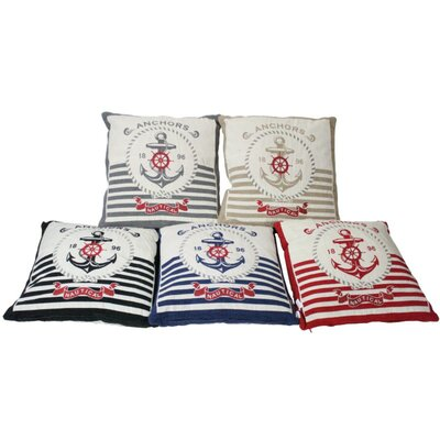 Striped Anchors Throw Pillow Color: Red