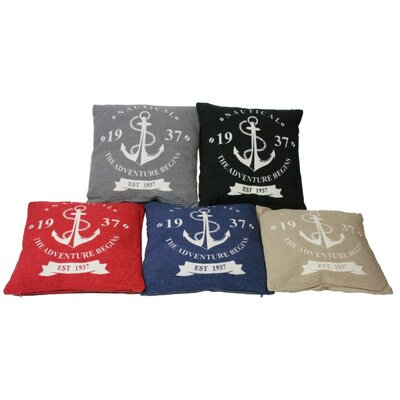 Anchors Throw Pillow Color: Red