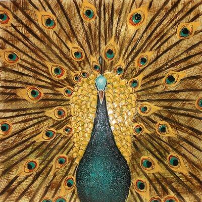 Peacock in Plume Painting Print on Canvas EN111903