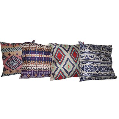 4 Piece Patterned Throw Pillow Set