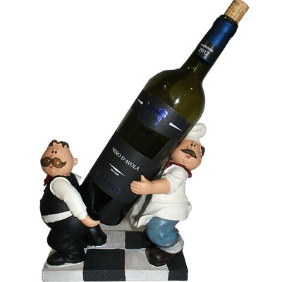 Chef and Waiter Polyresin 1 Bottle Tabletop Wine Rack