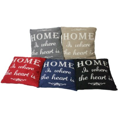 Home is Where the Heart is Throw Pillow Color: Blue