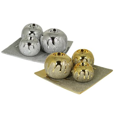Glimmer 4 Piece Votive Set Color: Silver