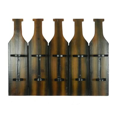 5 Bottle Wall Mounted Wine Bottle Rack