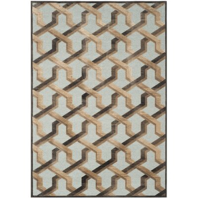 Scharff Soft Anthracite/Aqua Area Rug Rug Size: Rectangle 76 x 106