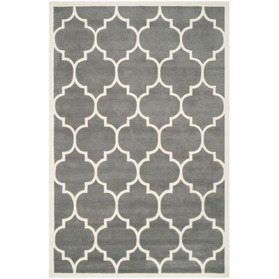 Wilkin Hand-Tufted Dark Gray/Ivory Area Rug Rug Size: Rectangle 6 x 9