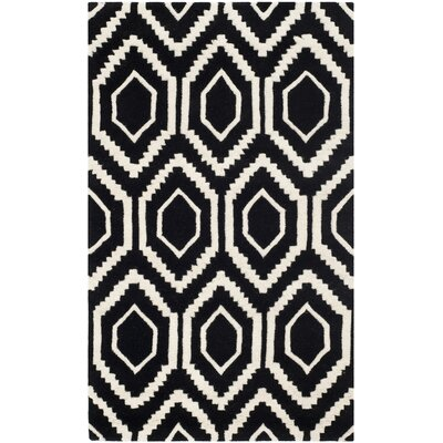 Wilkin Hand-Tufted Black/Ivory Area Rug Rug Size: Rectangle 3 x 5