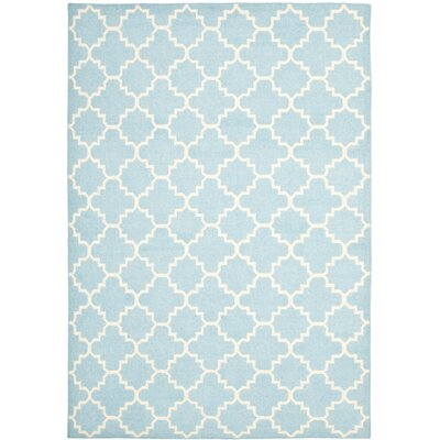 Danbury Hand-Woven Wool Light Blue/Ivory Area Rug Rug Size: Rectangle 26 x 4
