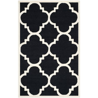 Charlenne Hand-Tufted Black/Ivory Area Rug Rug Size: Rectangle 9 x 12