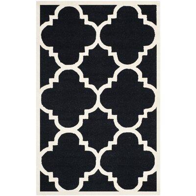Charlenne Black / Ivory Area Rug Rug Size: 5 x 8