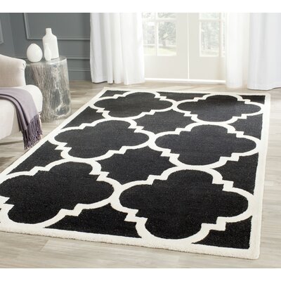 Rodgers Hand-Tufted Black/Ivory Area Rug Rug Size: Rectangle 4 x 6