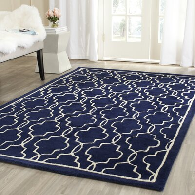 Wilkin Hand-Woven Dark Blue/Ivory Area Rug Rug Size: Rectangle 5 x 8
