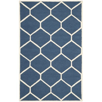 Martins Hand-Tufted Wool Navy Blue Area Rug Rug Size: Rectangle 5 x 8