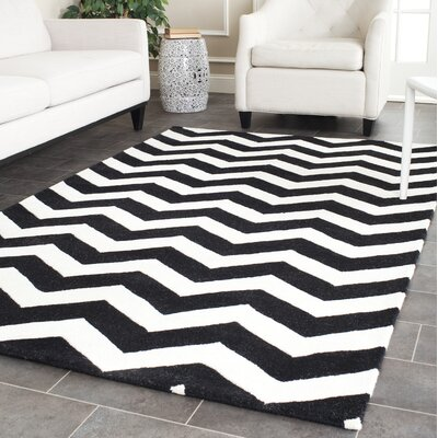 Wilkin Chevron Hand-Tufted Wool Ivory/Black Area Rug Rug Size: Rectangle 4 x 6