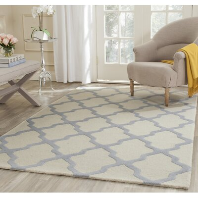 Charlenne Hand-Tufted Ivory/Gray Area Rug Rug Size: Rectangle 4 x 6