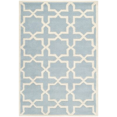 Wilkin Hand-Tufted Blue/Ivory Area Rug Rug Size: Rectangle 8' x 10'
