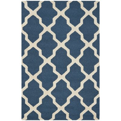 Charlenne Lattice H-Tufted Wool Navy Blue Area Rug Rug Size: Rectangle 3 x 5