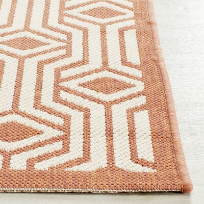 Jefferson Place Red/Beige Indoor/Outdoor Area Rug Rug Size: Rectangle 2 x 37