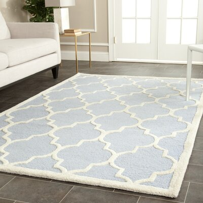 Charlenne Hand-Tufted Wool Light Blue/Ivory Area Rug Rug Size: Rectangle 3 x 5