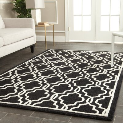 Martins Hand-Tufted Wool Black Area Rug Rug Size: Rectangle 5 x 8