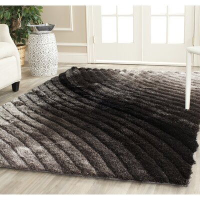 Anna Shag Hand-Tufted Silver/Gray Area Rug Rug Size: Rectangle 5 x 8