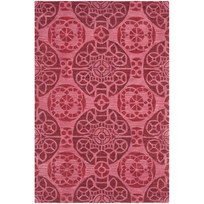 Kouerga Wool Hand-Tufted Red Area Rug Rug Size: Round 7