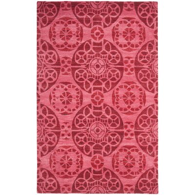 Kouerga Wool Hand-Tufted Red Area Rug Rug Size: Rectangle 5 x 8