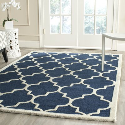 Charlenne Hand-Tufted Navy Area Rug Rug Size: Rectangle 6' x 6'