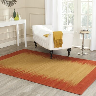 Kilim Hand-Knotted Wool Rust/Gold Area Rug Rug Size: Rectangle 4 x 6