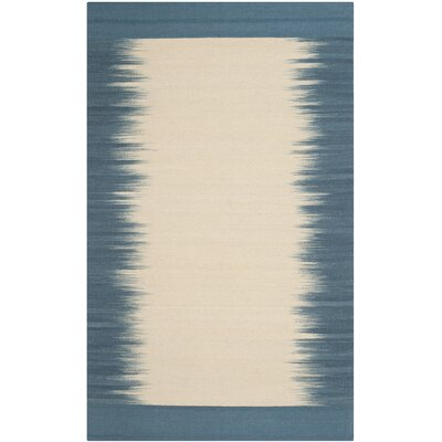 Kilim Hand-Knotted Wool Beige/Light Blue Area Rug Rug Size: Rectangle 4 x 6