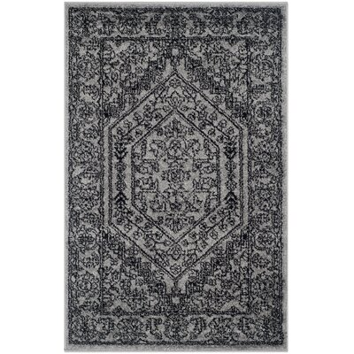 Ischua Silver/Black Area Rug Rug Size: Rectangle 26 x 4