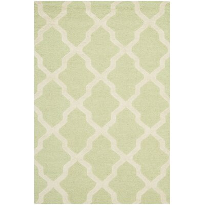 Charlenne Hand-Tufted/Hand-Hooked Light Green/Ivory Area Rug Rug Size: Rectangle 4 x 6