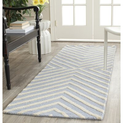 Weybridge Hand Woven Wool Light Blue/Ivory Area Rug Rug Size: Runner 26 x 8