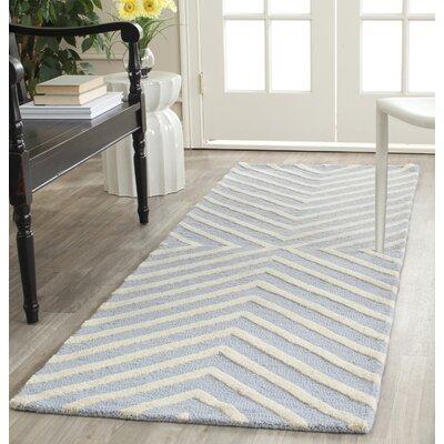 Weybridge Hand Woven Wool Light Blue/Ivory Area Rug Rug Size: Runner 26 x 6