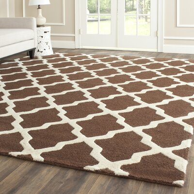 Charlenne Hand-Tufted Wool Dark Brown/Ivory Area Rug Rug Size: Rectangle 6 x 9