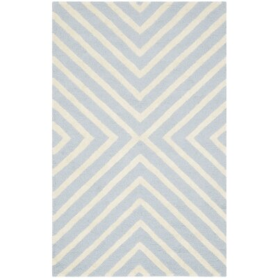 Weybridge Hand Woven Wool Light Blue/Ivory Area Rug Rug Size: Rectangle 6 x 9