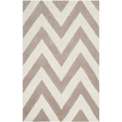 Charlenne Hand-Tufted Wool Beige/Brown Area Rug Rug Size: Rectangle 3 x 5