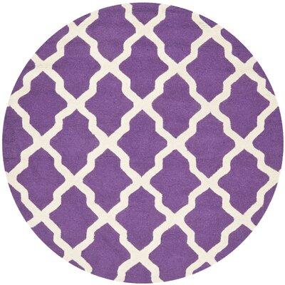 Charlenne Handmade Purple / Ivory Area Rug Rug Size: Round 6