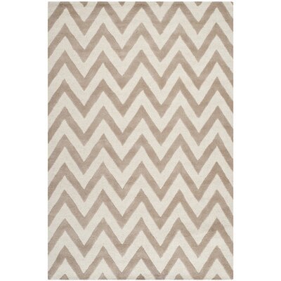Charlenne Hand-Tufted Wool Beige/Brown Area Rug Rug Size: Rectangle 6 x 9