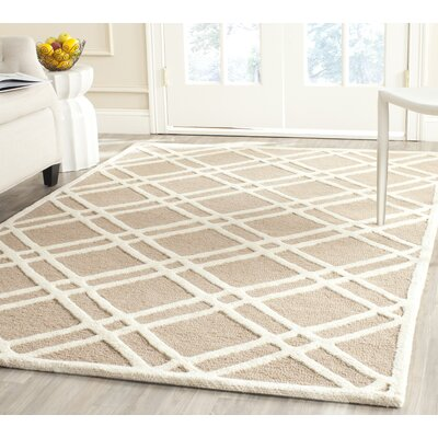 Martins Hand-Tufted Wool Beige/Ivory Area Rug Rug Size: Rectangle 2 x 3