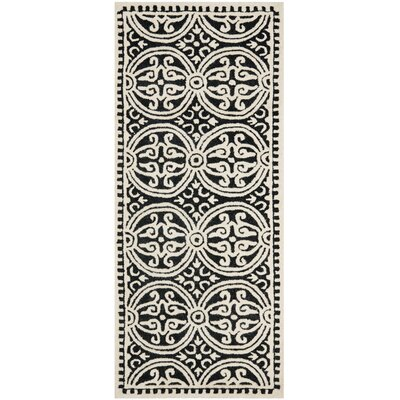 Fairburn Black/Ivory Area Rug Rug Size: Runner 26 x 8