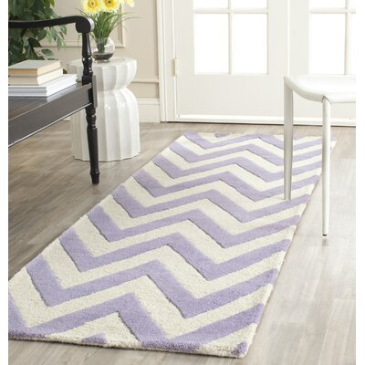 Charlenne Hand-Tufted Wool Lavender/Ivory Area Rug Rug Size: Rectangle 26 x 4