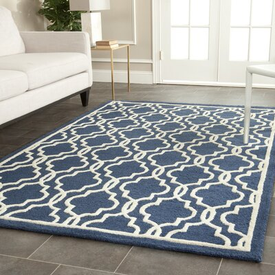 Martins Hand-Tufted Wool Navy/Ivory Area Rug Rug Size: Square 6